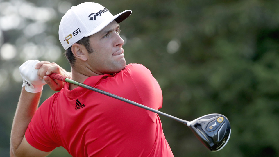 Jon Rahm hits a tee shot on the 11th hole during the first round of the 2016 Wyndham Championship.