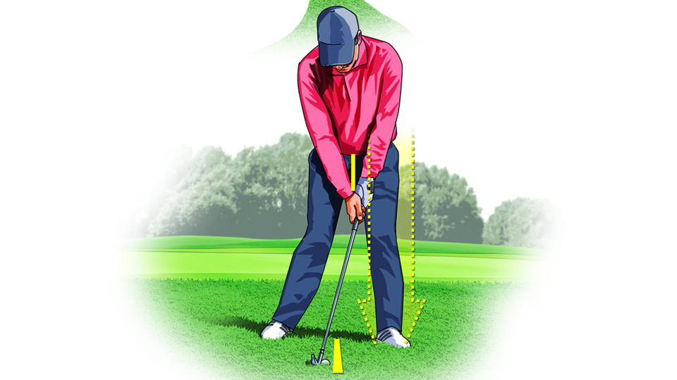 At address, move the ball back in your stance, let most of your weight rest on your left leg, and keep your hands ahead of center, which will help deloft the clubface.