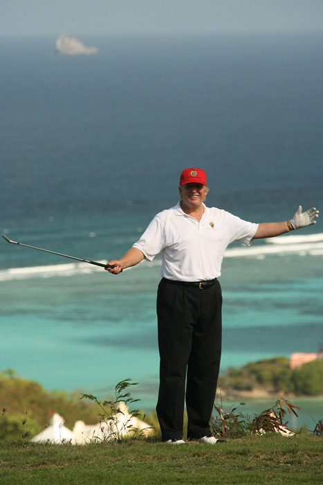 Donald Trump during Donald Trump Million Dollar Invitational 54 Hole Golf Tournament: Day 4 at Raffles Resort in Canouan Island, Saint Vincent and The Grenadines.