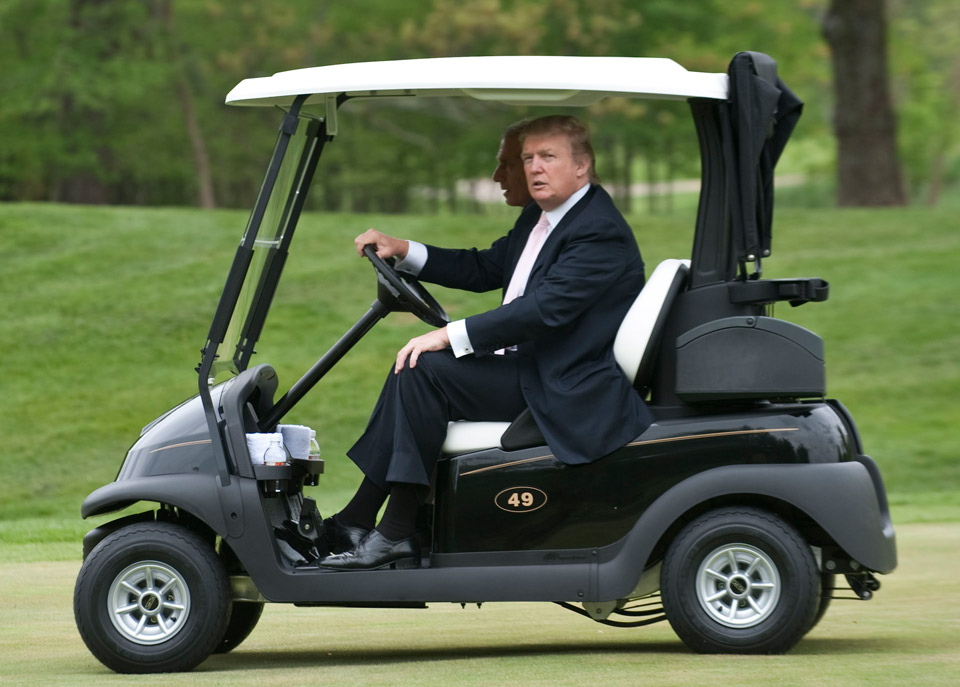 Donald Trump, chairman and president of The Trump Organization, drives a golf cart at the Lowes Island Golf Club in Potomac Falls, Virginia, U.S., on Thursday, April 30, 2009.