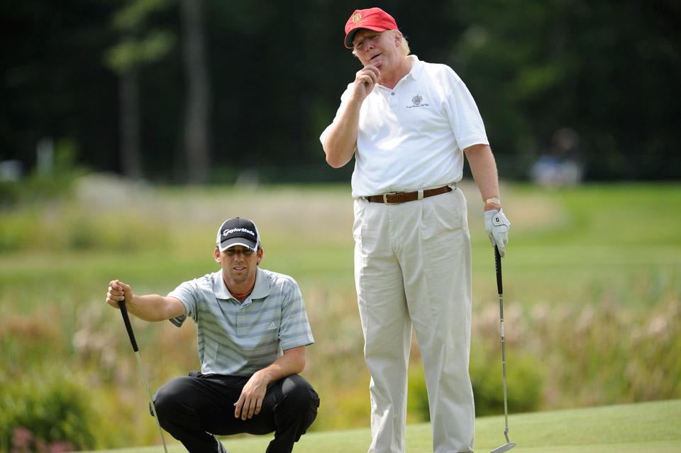 Donald Trump and Sergio Garcia during the 2008 Deutsche Bank Championship Pro-Am event at TPC Boston in Norton, MA
