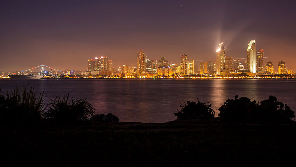 The downtown San Diego skyline at night.