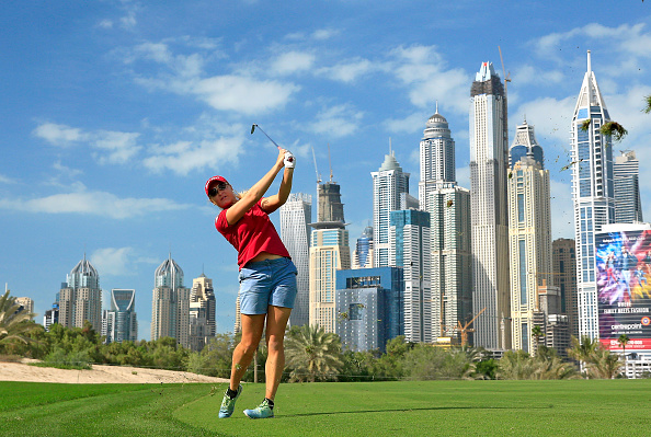 Charley Hull of England in action during the pro-am as a preview for the 2015 Omega Dubai Ladies Masters on the Majlis Course at The Emirates Golf Club.