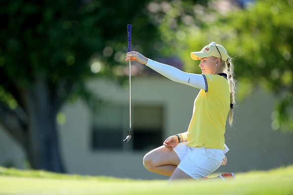 Charley Hull of England lines up a birdie putt at the par 4, 16th hole during the third round of the 2016 ANA Inspiration at the Mission Hills Country Club.