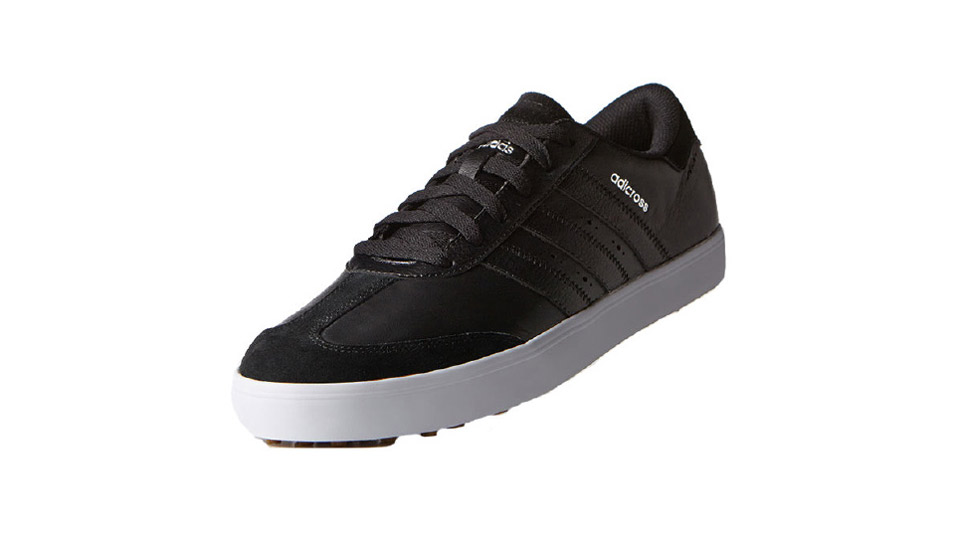 "This stylish, street-ready shoe has a water-resistant leather and suede upper so you can play in peace during those foul-weather days. Extra cushioning under the sock liner puts a spring in your step, while the flexible, spikeless outsole has 72 lugs for added gripping power. So take your best rip with confidence.  <a href=""http://www.anrdoezrs.net/links/7937464/type/dlg/sid/GOLFNewShoes/http://www.zappos.com/p/adidas-golf-adicross-v/product/8658660"" target=""blank"">BUY NOW</a>"