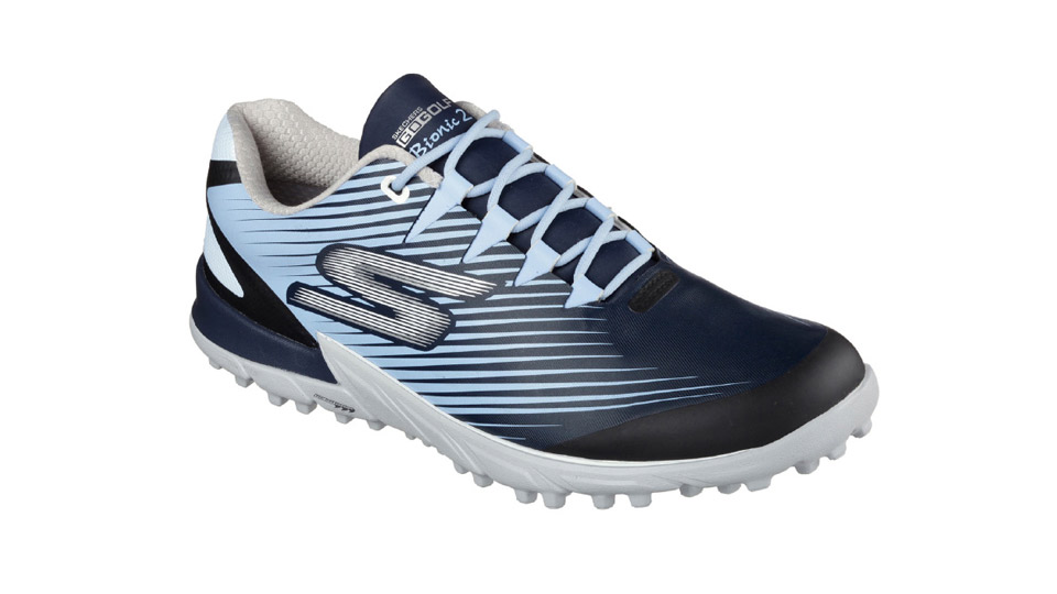 "Skechers' cushioned, striped Bionic golf shoe promises to keep the foot in a neutral, natural position as you swing and putt. The upper is waterproof, with a padded tongue and a padded inner fabric. In black, blue, and white, they're guaranteed to help make your grip more stable and grounded.  <a href=""http://www.pntra.com/t/8-10971-131940-141053?sid=GOLFNewShoesurl=https%3A%2F%2Fwww.skechers.com%2Fen-us%2Fstyle%2F54500%2Fskechers-go-golf-bionic-2%2Fbkgy"" target=""blank"">BUY NOW</a>"