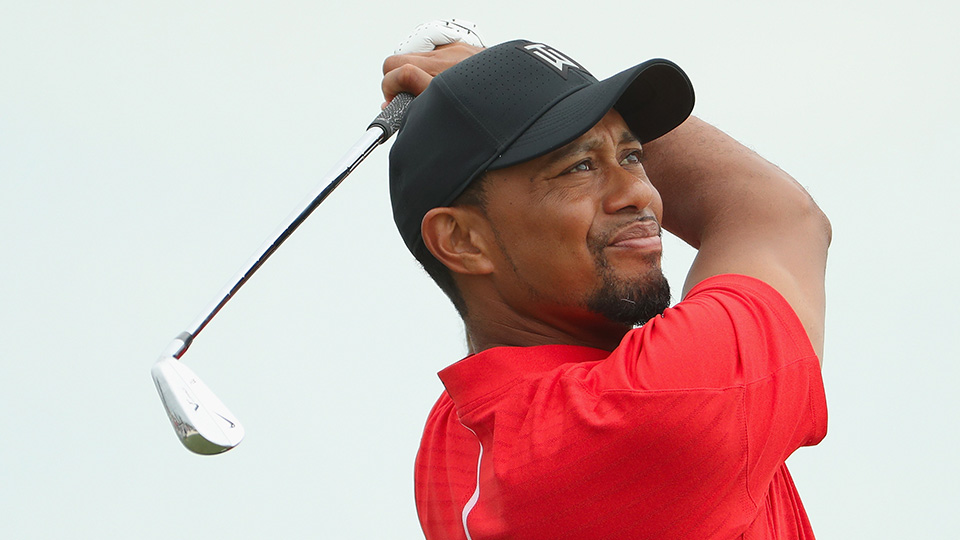 Tiger Woods hits his tee shot on the second hole during the final round of the Hero World Challenge.