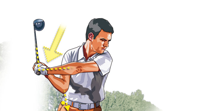 Start your downswing by dropping your wrists. When your left arm is parallel with the ground, your right elbow should still be tucked near your body and pointing down. Now you're locked and loaded for the final move to impact.