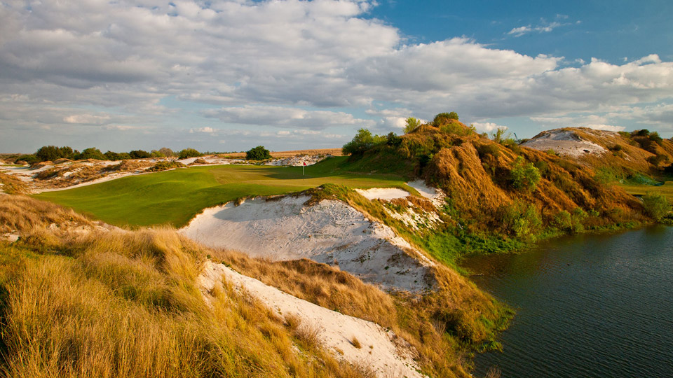 The par-3 16th at Streamsong Red in Florida.