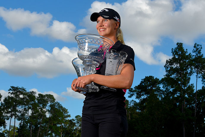 Sagstrom won the 2016 Symetra Tour Player of the Year, Rookie of the Year and leading money winner awards.
