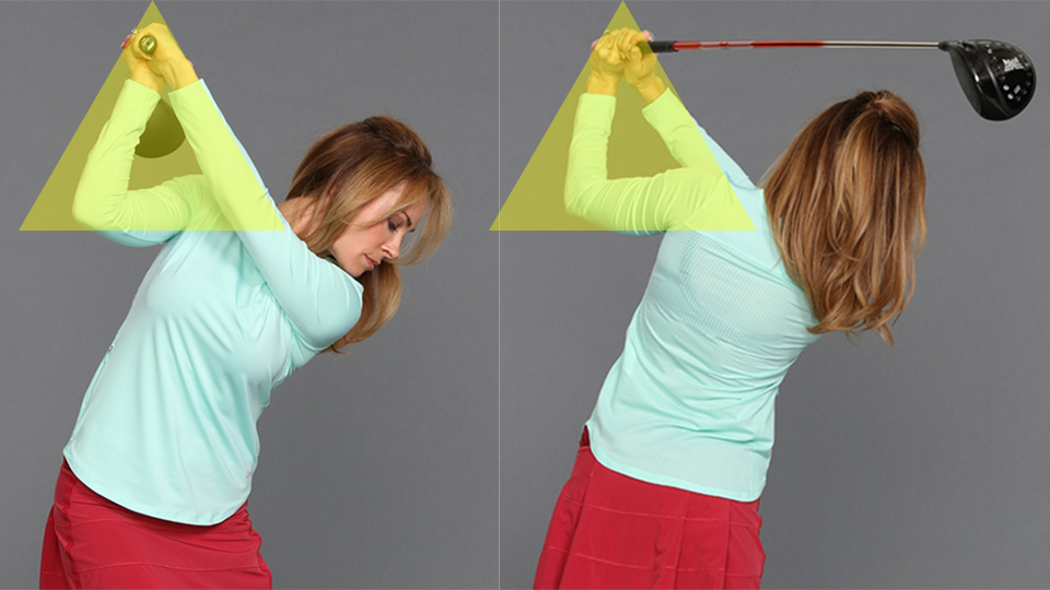 Put your hands in the same location on both sides of your swing to turn a slice into a draw. Match up the triangle created by your arms in both positions. Don't think—just match!