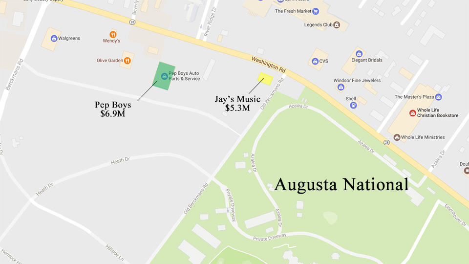 The photo shows the locations of Augusta's two most recent purchases.