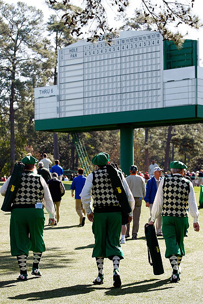 Fans on their way to watch the practice rounds embraced the Masters spirit in their color outfits.