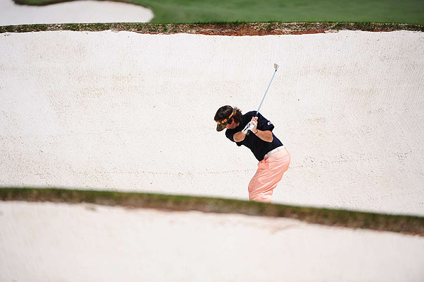 Bubba Watson, in the sand here on 18, made two eagles in his even-par 72 second round.