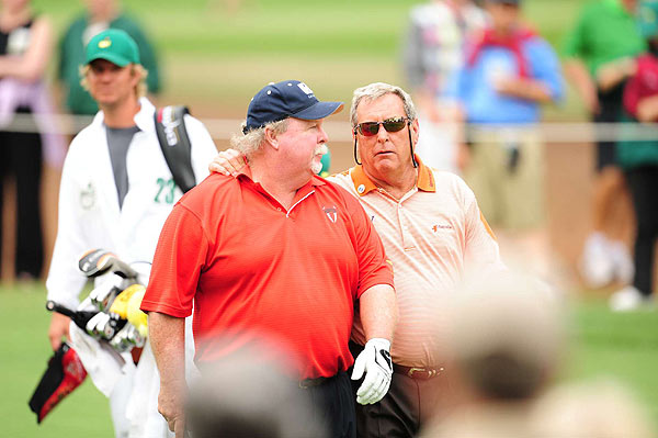 Fuzzy Zoeller, here with Craig Stadler, also played his last Masters' round, shooting 76 to miss the cut.