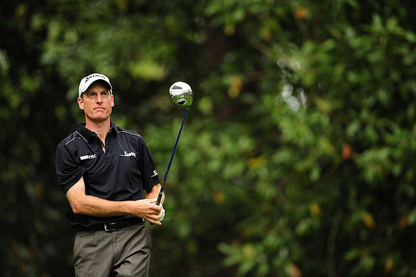 Jim Furyk had an up-and-down round on Friday. He shot 74, and is five strokes off the lead.