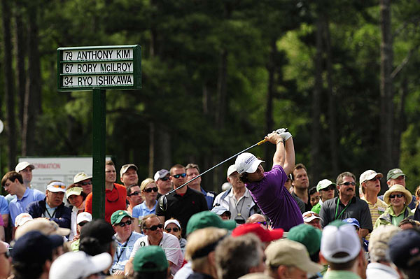Young gun Rory McIlroy spent most of the day under par, with three birdies on the front and an eagle on the par-5 13th.