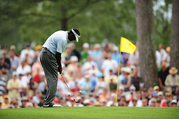 After making the turn, Vijay Singh made a double and two bogeys. He rebounded with three birdies on his way to 18 to finish at three under for the tournament.