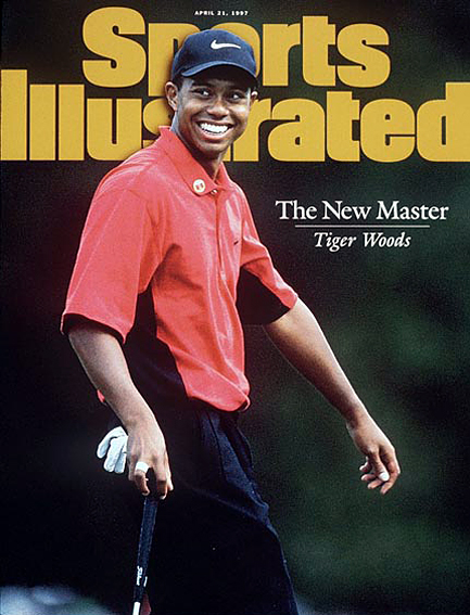 Tiger Woods wins first green jacket by 12 strokes April 21, 1997
