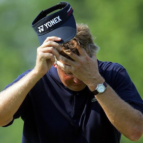 Phil Mickelson wasn't the only player to throw away the 2006 U.S. Open. Colin Montgomerie hit 7-iron for his second shot on 18 but came up short in deep rough. He chipped on and three-putted to miss a playoff by one.