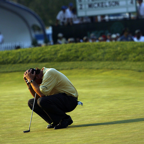 "Standing on the 18th tee at the 2006 U.S. Open at Winged Foot, all Phil Mickelson needed was a par to win his first U.S. Open and third consecutive major. Instead, he made a double bogey to hand the trophy to Geoff Ogilvy. Afterward, Mickelson said, ""I'm such an idiot."""