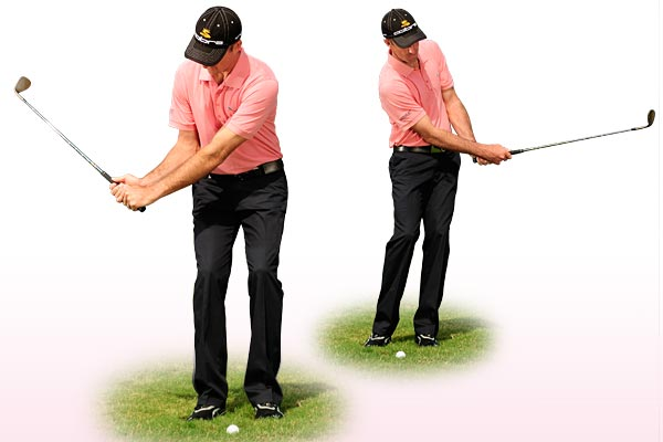 BEFORE YOUR NEXT CHIP...                                              Think 'draw'                                              Many amateurs aim left when chipping and try to cut across the ball. That's bad technique. Your chip swing is a mini full swing, so your chipping motion should be a mini-draw. Make practice swings and focus on pointing the toe of your wedge at the sky in both your backswing and your finish. Notice how you must release your left hand through impact, just like you do with your irons and woods.                                              Make sure that your practice swings move from toe-up to toe-up.