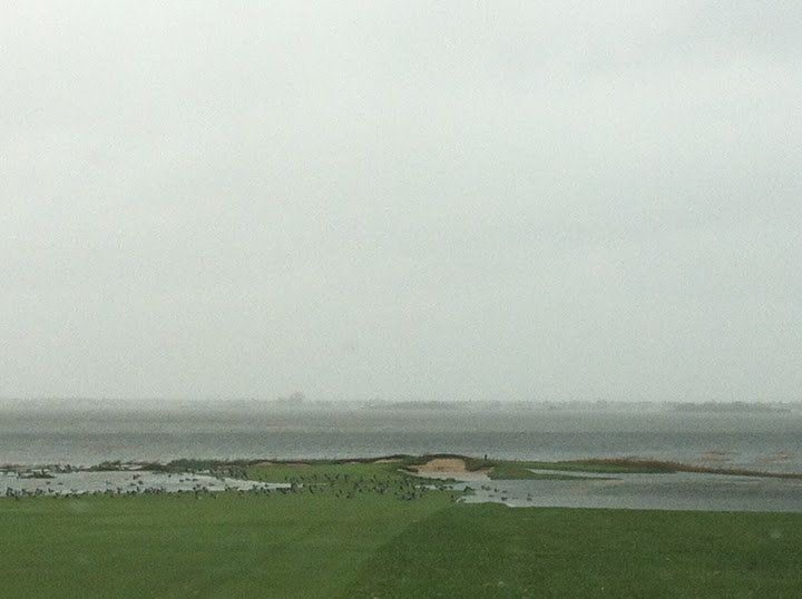 Ryan George, head professional at Rockaway Hunting Club in Lawrence, N.Y., took many pictures of the golf course and the destruction Hurricane Sandy left behind.                                          The fairway on No. 1.
