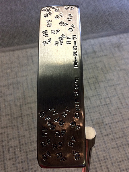 The bottom of Rickie Fowler's Newport putter is a good example of how much customization some pros like. He started playing with this putter at Doral.