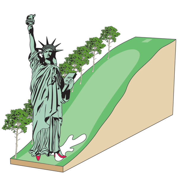 10th hole                                               Drop from the 10th tee to the lowest part of the 10th fairway = 116 feet                       Statue of Liberty head-to-foot (111 feet), wearing 5-foot heels = 116 feet