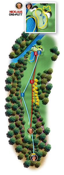 Par-4 11th (White Dogwood)                       1986: 455 yards                       Jack Nicklaus ... Birdie                                              2004: 490 yards                       Phil Mickelson ... Par                                              Changes from 1986 to 2004: Green, pond and bunkers adjusted; tee moved back 35 yards and right five yards; trees added right of fairway                                              Jack                       1. Driver, 300 yards, fairway                       2. Eight-iron, 150 yards, right middle                       3. 20-foot birdie putt                                              Phil                       1. Driver, 297 yards, left rough                       2. Seven-iron, 193 yards, right middle                       3. 25-foot birdie putt, short                       4. Eight-inch par putt