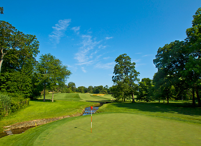 The 11th hole at Merion. The course will play a total of 6,996 yards.