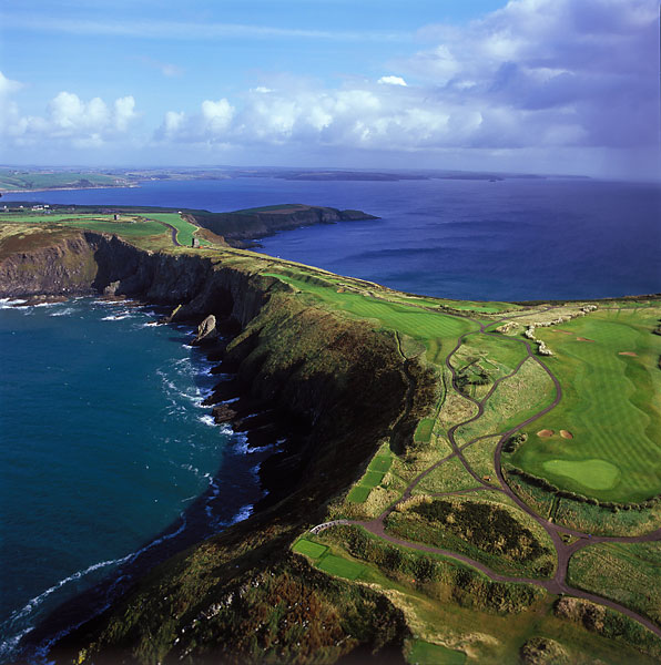 11. 11th at Old Head at Kinsale -- Par 5, 526 yards -- County Cork, Ireland                       Ask not how many shots you took. Ask instead how many balls you lost. That's a better way to measure how you fared on this do-or-die par 5, which tempts you to bite off too much off the tee before presenting you with a downhill approach to a miniscule green set on a steep-sided promontory.