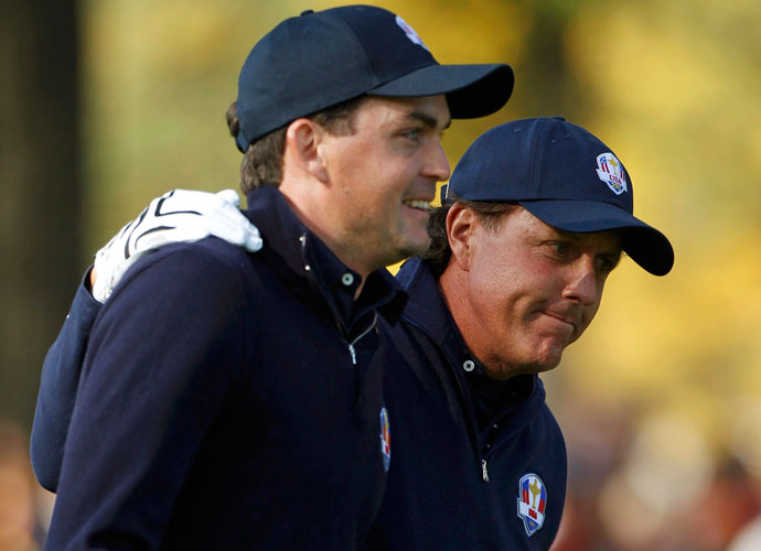 12. Keegan Bradley and Phil Mickelson                     This dynamic duo will almost certainly be reunited, considering their play at Medinah (they were a combined 3-0-0 in foursomes and fourball). It's a May-December Ryder bromance unlike any the Ryder has seen since Ballesteros-Olazabal.