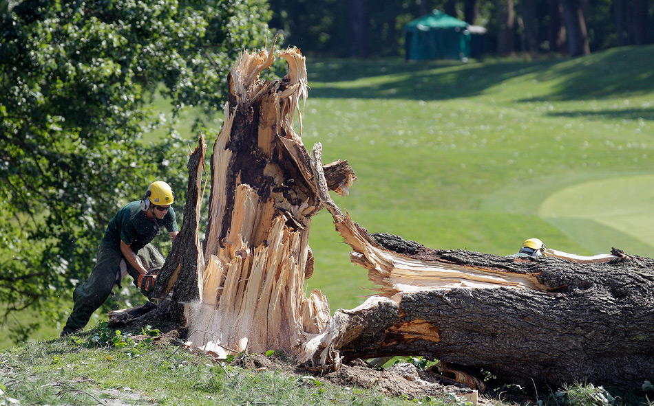 Severe storms on Friday night delayed play on Saturday as workers had a huge mess to clean up at Congressional.