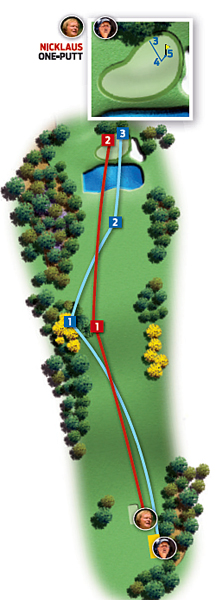 Par-5 15th (Firethorn)                       1986: 500 yards                       Jack Nicklaus ... Eagle                       2004: 500 yards                       Phil Mickelson ... Par                                              Changes from 1986 to 2004: Fairway mounds reduced; trees added right and left of fairway                                              Jack                                              1. Driver, 298 yards, middle of fairway                                              2. Four-iron, 202 yards, left on green                                              3. 12-foot eagle putt                                              Phil                                                                     1. Driver, 305 yards, left rough                                              2. Wedge, 120 yards, fairway                                              3. Wedge, 75 yards, long                                              4. 13-foot putt, long and right                                              5. 18-inch par putt