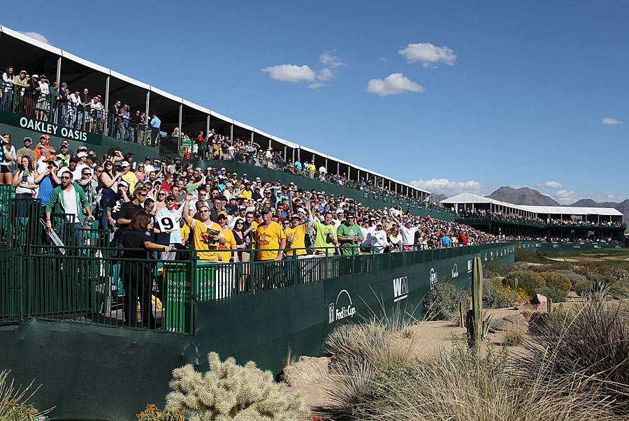 Fans at the rowdy par-3 16th hole didn't disappoint on Friday.