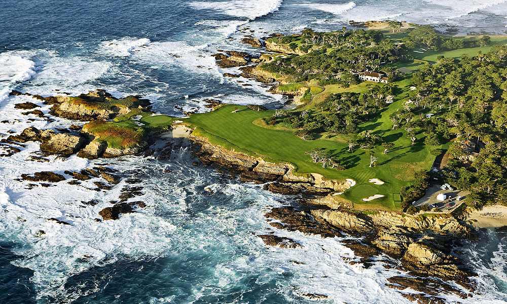 3. 16th at Cypress Point -- Par 3, 235 yards -- Pebble Beach, Calif.                       One of the most picturesque holes in golf is also one of the most punishing, requiring a hefty carry over the Pacific to a green fronted and flanked by bluffs. The safest option is a layup to a ribbon of fairway on the left. The penalty is the grief you'll get from buddies when you tell them that you played the famous hole the wimpy way.