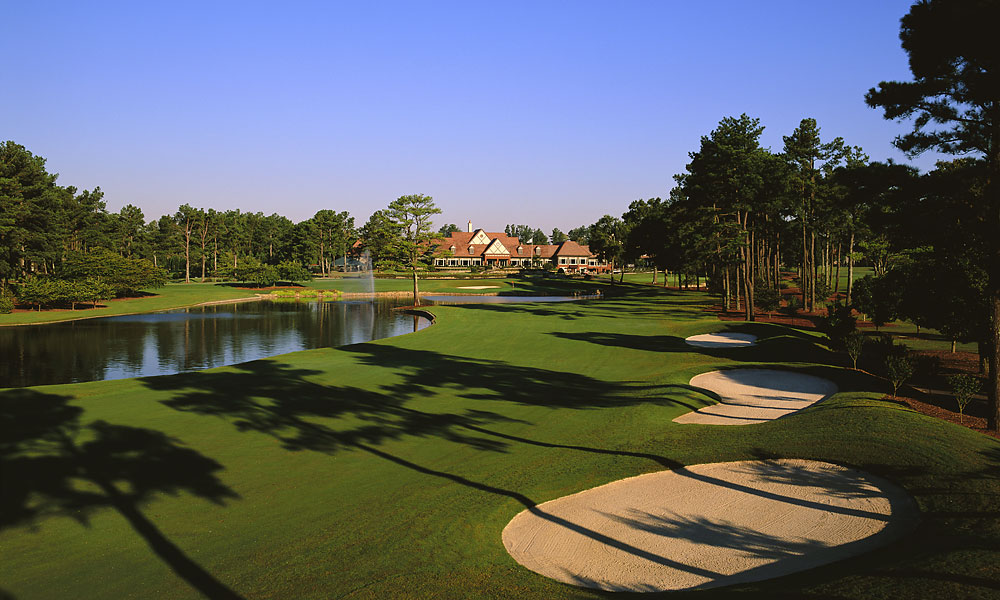 15. 18th at Atlanta Athletic Club -- Par 4, 507 yards -- Johns Creek, Ga.                       If you lay up, as David Toms did on his way to winning the 2001 PGA Championship, you now have to steer clear of a new fairway bunker that Rees Jones added near the second landing area. If you go for it in two, as Jerry Pate did when he flushed a five-iron to two feet en route to winning the 1976 U.S. Open, you're confronted with an imposing carry over water to a firm green backed by bunkers. Either way, you'll face a daunting drive, with a lake on the left, to a 30-yard-wide fairway that looks a lot slimmer from where you stand.
