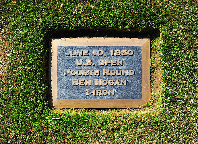 A plaque rests in the 18th fairway on the spot of Ben Hogan's famous 1-iron shot during the 1950 U.S. Open at Merion. This year's tournament will be the fifth U.S. Open contested on Merion's East Course.
