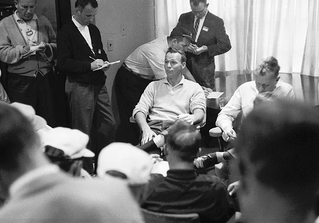 Palmer met with the media after his win in 1960.