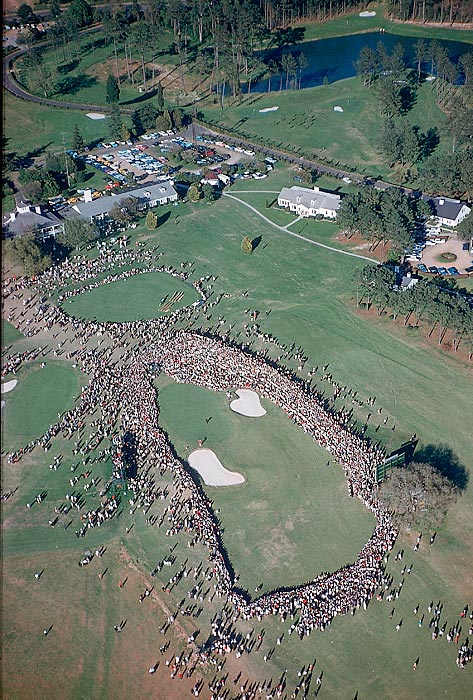 An overhead shot of the 18th green in 1960.