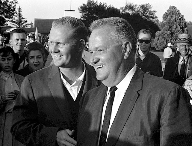 Nicklaus celebrated with his father, Charles, after winning in 1963.