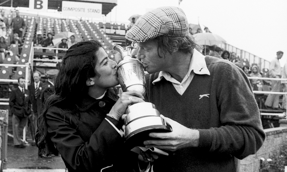 Watson with his first wife, Linda, after winning his first British Open at Carnoustie in 1975, where he beat Australian Jack Newton in an 18-hole playoff, 71-72.
