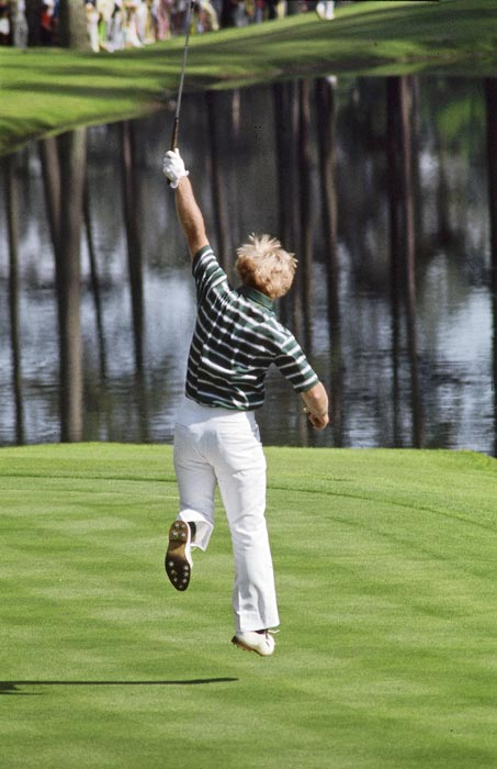 Nicklaus birdied the par-3 16th on his way to a thrilling Masters win over Johnny Miller and Tom Weiskopf in 1975.