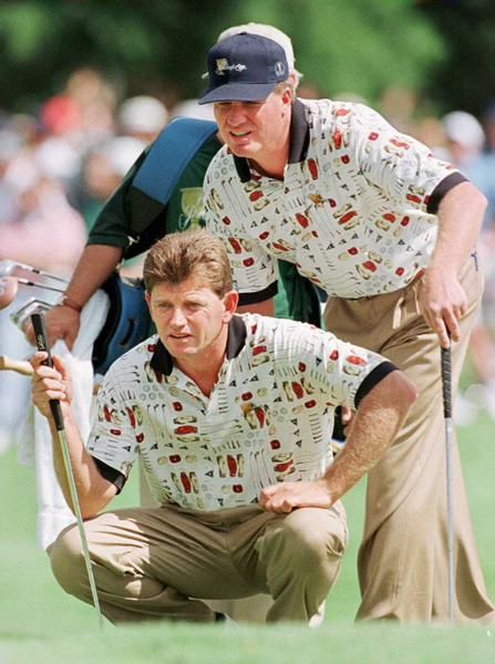 5. 1996 President's Cup                       Steve Elkington and Nick Price won their match against the U.S.A.'s Justin Leonard and Tom Lehman, but they most certainly lost the fashion battle. Sporting polos that featured a montage of golf equipment illustrations, the look is juvenile and hardly intimidating, and perhaps factored in to the U.S.A's eventual one point victory.