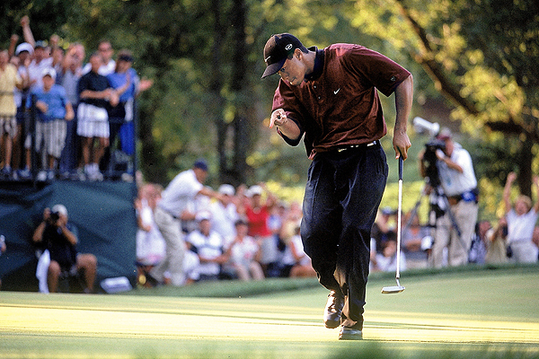2000                                          Valhalla Golf Club                     Louisville, Kentucky                     Winner: Tiger Woods 66-67-70-67 — 270*                      Runner-up: Bob May 72-66-66-66 — 270                     (* - wins in playoff)                      Woods successfully defended his PGA Championship title, but just barely. He won an aggregate playoff against journeyman May by a single shot.