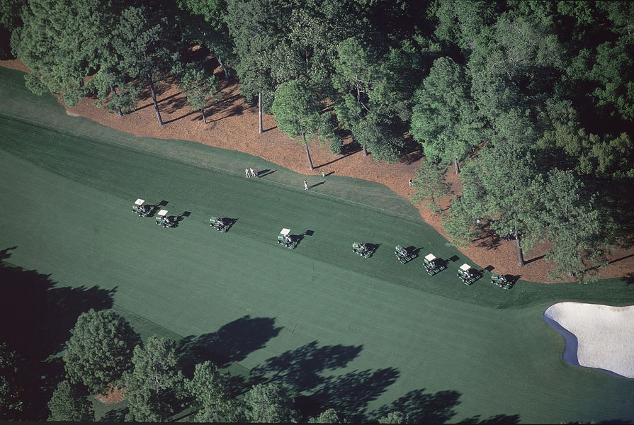2000: The armada of fairway mowers that are unleashed on the main course every evening.
