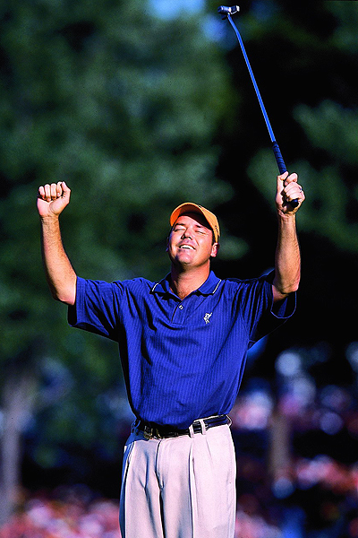 """No. 8                     """"Rich... and famous!"""" Rich Beem wins the 2002 PGA Championship at Hazeltine National Golf Club in Minnesota.                                          While name puns are outlawed by all self-respecting copy editors, Nantz uses them freely and without remorse when free from the constraints of the green jackets. At Hazeltine, Nantz captured the moment of a journeyman pro winning one of the game's biggest prizes, even if the fame proved fleeting."""