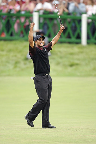 Tiger won his second British Open in 2005 at St. Andrews.