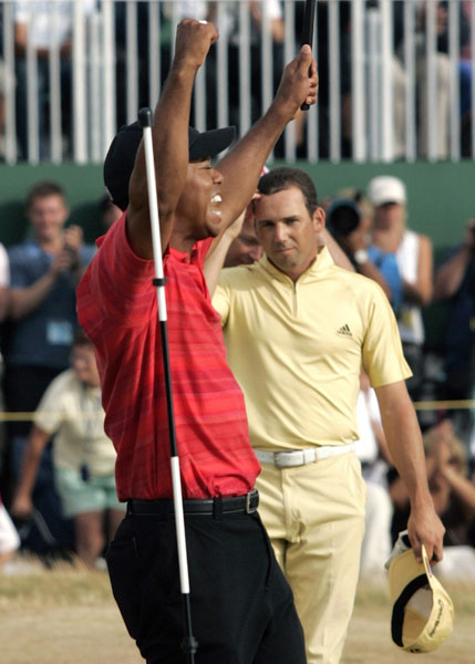 "Garcia shows up in canary yellow, and Tiger beats him black-and-blue. After claiming the British Open with a Sunday 67 to his battered playing partner's 73, Tiger texts a friend: ""I just bludgeoned Tweety Bird."""